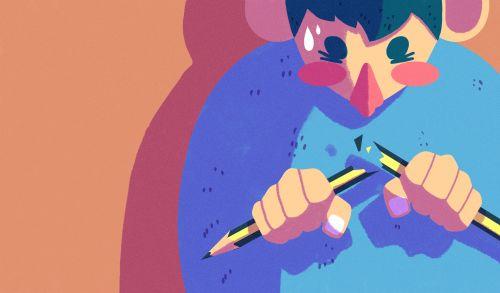 Ilustración de un niño rompiendo un lápiz